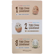 3 PACK OF Botanic Farm, Egg Clear Blackhead, 3-Step Nose Pack