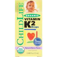 ChildLife, Organic, Vitamin K2 Drops, Natural Berry Flavor, 0.406 fl oz (12 ml)