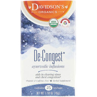 3 PACK OF Davidsons Tea, Organic, Ayurvedic Infusions, De-Congest, 25 Tea Bags, 1.58 oz (45 g)