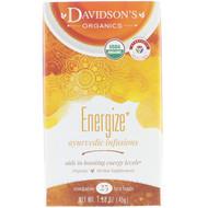 3 PACK OF Davidsons Tea, Organic, Ayurvedic Infusions, Energize, 25 Tea Bags, 1.58 oz (45 g)