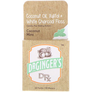 Dr. Gingers, Coconut Oil, Xylitol + White Charcoal Floss, Coconut Mint, 32 yds (30 m)