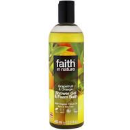 3 PACK OF Faith in Nature, Shower Gel & Foam Bath, Grapefruit & Orange, 13.5 fl oz (400 ml)