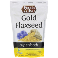 3 PACK OF Foods Alive, Superfoods, Gold Flaxseed, 14 oz (395 g)
