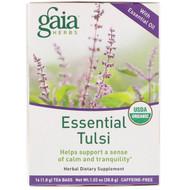 3 PACK OF Gaia Herbs, Essential Tulsi, Caffeine-Free, 16 Tea Bags, 1.02 oz (28.8 g)