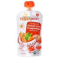 3 PACK OF Happy Family Organics, Organic Baby Food, Chicken Curry & Vegetables with Brown Rice, Stage 3, 7+ Months, 4 oz (113 g)