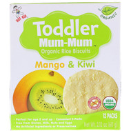 3 PACK OF Hot Kid, Toddler Mum-Mum, Organic Rice Biscuits, Mango & Kiwi, 12 Packs, 2.12 oz (60 g)