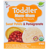 3 PACK OF Hot Kid, Toddler Mum-Mum, Organic Rice Biscuits, Sweet Potato & Pomegranate, 12 Packs, 2.12 oz (60 g)