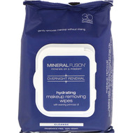 3 PACK OF Mineral Fusion, Overnight Renewal, Hydrating Makeup Removing Wipes, 30 Towelettes