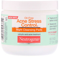 3 PACK OF Neutrogena, Oil Free Acne Stress Control, Night Cleansing Pads, 60 Pads