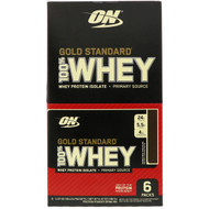 3 PACK OF Optimum Nutrition, Gold Standard 100% Whey, Double Rich Chocolate, 6 Packs, 1.07 oz (30.4 g) Each