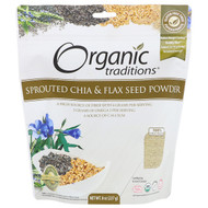 3 PACK of Organic Traditions, Sprouted Chia & Flax Seed Powder, 8 oz (227 g)