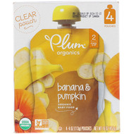 3 PACK OF Plum Organics, Organic Baby Food, Stage 2, Banana & Pumpkin, 4 Pouches, 4 oz (113 g) Each