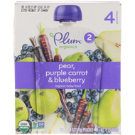 3 PACK of Plum Organics Organic Baby Food - Stage 2 Pear, Purple Carrot & Blueberry -- 4 Pouches