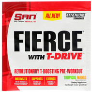 3 PACK OF SAN Nutrition, Fierce With T-Drive, Revolutionary T-Boosting Pre-Workout, Tropical Mango, 0.69 oz (19.637 g)