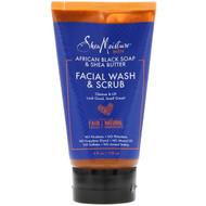 3 PACK OF SheaMoisture, Men, African Black Soap & Shea Butter, Facial Wash & Scrub, 4 fl oz (118 ml)
