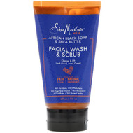 SheaMoisture, Men, African Black Soap & Shea Butter, Facial Wash & Scrub, 4 fl oz (118 ml)