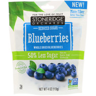 3 PACK OF Stoneridge Orchards, Blueberries, Whole Dried Blueberries, Reduced Sugar, 4 oz (113 g)