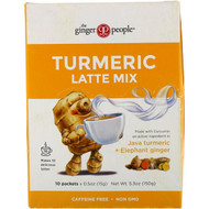 3 PACK OF The Ginger People, Turmeric Latte Mix, Java Turmeric + Elephant Ginger , 10 Packets, 0.5 oz (15 g) Each