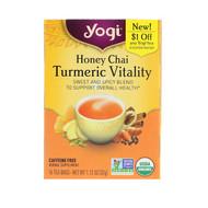 3 PACK OF Yogi Tea, Honey Chai, Turmeric Vitality, 16 Tea Bags, 1.12 oz (32 g)