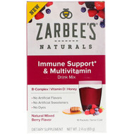 3 PACK OF Zarbees, Immune Support & Multivitamin Drink Mix with B-Complex, Vitamin D, Honey, Natural Mixed Berry Flavor, 10 Packets, 2.4 oz (69 g)