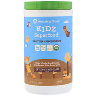 Amazing Grass, Kidz Superfood, Protein + Probiotics, Extreme Chocolate, 10 oz (285 g)