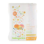 BabyGanics, Ultra Absorbent Diapers, Size 1, 8-14 lbs (4-6, 34 Diapers
