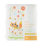 BabyGanics, Ultra Absorbent Diapers, Size 3, 16-28 lbs (7-13, 28 Diapers