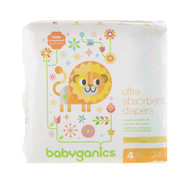 BabyGanics, Ultra Absorbent Diapers, Size 4, 22-37 lbs, (10-17, 24 Diapers