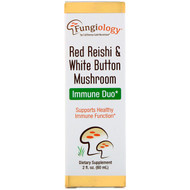 California Gold Nutrition, Fungiology, Red Reishi & White Button Mushroom, Immune Duo, 2 fl oz (60 ml)