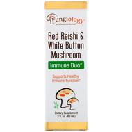 California Gold Nutrition, Fungiology, Red Reishi & White Button Mushroom, Immune Duo, 2 fl oz (60 ml)