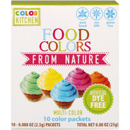 ColorKitchen, Food Colors From Nature, Multi-Color, 10 Color Packets, 0.088 oz (2.5 g) Each