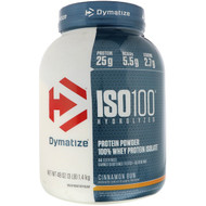 Dymatize Nutrition, ISO 100 Hydrolyzed, 100% Whey Protein Isolate, Cinnamon Bun, 48 oz (1.4