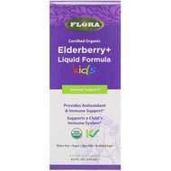 Flora, Certified Organic, Elderberry + Liquid Formula, Kids, 8.5 fl oz (250 ml)