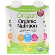 Orgain, Organic Nutrition, All-in-One Nutritional Shake, Bananas & Cream, 4 Pack, 11 fl oz Each