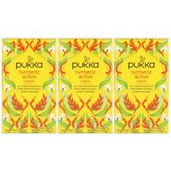 Pukka Herbs, Organic Turmeric Active, Caffeine-Free, 3 Pack, 20 Herbal Tea Sachets Each