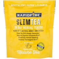RAPIDFIRE, SlimTea, 28 Day Herbal Teatox, Matcha Tea, Real Lemon Flavor, 28 Tea Bags