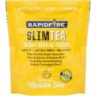 RAPIDFIRE, SlimTea, 28 Day Herbal Teatox, Matcha Tea, Real Lemon Flavor, 28 Tea Bags