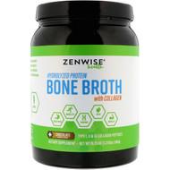 Zenwise Health, Hydrolyzed Protein Bone Broth with Collagen, Chocolate, 19.75 oz (560 g)