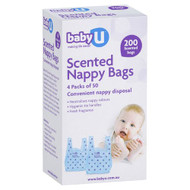 3 PACK OF babyU Nappy Bags 200 Pack