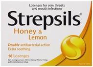 3 PACK OF Strepsils Lozenges Honey & Lemon 16