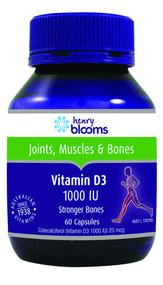 3 PACK OF Henry Blooms Vitamin D3 1000Iu 60 Capsules