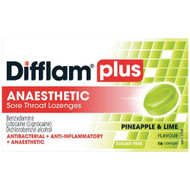 3 PACK OF Difflam Plus Sore Throat Lozenges + Anaesthetic Pineapple & Lime 16 Lozenges