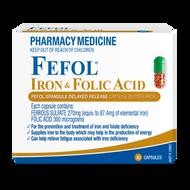 3 PACK OF Fefol Iron & Folate Capsules 30