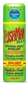 3 PACK OF Bushman Plus Insect Repellent With Sunscreen Aerosol 150G