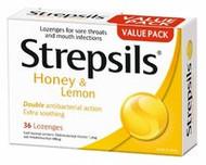 3 PACK OF Strepsils Lozenges Honey & Lemon 36