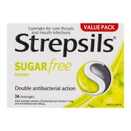 3 PACK OF Strepsils Lozenges Lemon Sugar Free 36