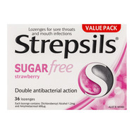 3 PACK OF Strepsils Lozenges Strawberry Sugar Free 36