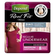 3 PACK OF Depend Realfit Underwear For Women Medium 8 Pack