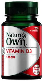 3 PACK OF Nature's Own Vitamin D 1000iu Capsules 200