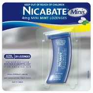 3 PACK OF Nicabate Mini Lozenges 4mg 20